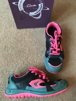 Clarks Bolt Atom Trainers Sneakers Pink Green Uk Size 5.5 G