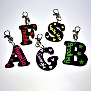 Back To School Name Tag  Bag Tag / Keyring Personalised Letter Shape A-Z