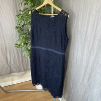 JAEGER Navy Blue Floral Lace SIZE 18 UK Sleeveless Occasion Party Lined Dress