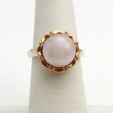 Sterling Silver 14k Rose Gold Freshwater Button Pearl Diamond Halo Ring sz6