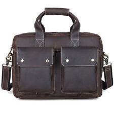 "Men's Real Leather Messenger Shoulder Bag 14"" Computer Case Briefcase Attache"