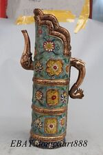 Tibet Bronze Copper Cloisonne Dragon Phoenix Kettle Teapot Wine jug Pot Flagon