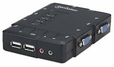 Manhattan 4-Port Compact KVM Switch USB Audio with Cables (151269) - Brand New!