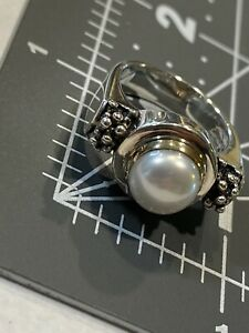 Michael Dawkins Mabe Pearl Beaded Sterling Silver 925 14k Ring Size 8