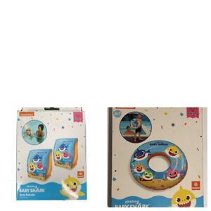 Kids Girls Boys Baby Shark Arm Bands Ring Swimming Beach Inflatable 2-6 Years