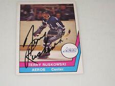 TERRY RUSKOWSKI AUTOGRAPHED 1977-1978 OPC O-PEE-CHEE WHA CARD