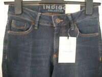 M&S INDIGO SLIM FLARE DENIM JEANS SIZE 8 SHORT BNWT