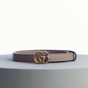 GUCCI 360$ Skinny Belt With Double G Buckle In Dusty Pink Leather