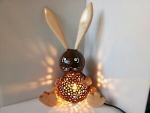 Coconut Shell Wood Table Lamp Bedside Desk Lamp Home Decor Gift Rabbit #2