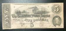 """1862 $5 Us Confederate States of America! Paper Money Currency! Blue """"V"""" Back!"""