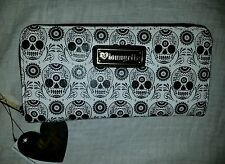 NWT Loungefly Black/White Sugar Skull Faux Leather Accordion Wallet