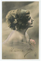 c 1910 French Glamour PRETTY YOUNG LADY Bare Shoulders vintage photo postcard