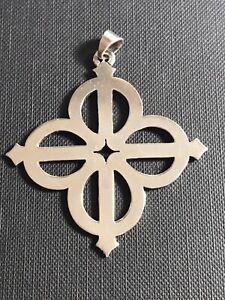 Rare James Avery Large Retired Cross Sterling Silver Pendant Unisex