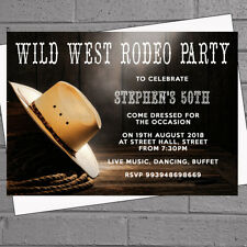 Personalised Birthday Party Invitations Cowboy Rodeo Themed X 12 Envs H1798