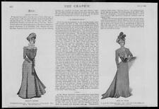 1900 Antique Print - FASHION  Morning Costume Spring Dress Corselet Lace   (160)