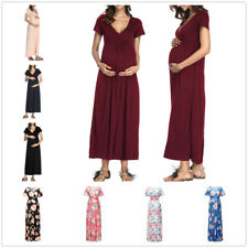 Pregnant Maternity Women V Neck Short Sleeve Summer Long Maxi Dress Gown Party
