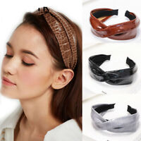 Women's PU Leather Headband Hairband Kont Wide Hair Band Hoop Accessories Party
