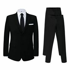 vidaXL Men's Two Piece Business Suit with Extra Pants Black Size 46 Formal