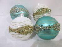 Coastal Beach Nautical Christmas Glitter Aqua White Beaded Ornaments Set of 4