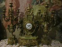 French Neoclassical Figural Putti Bronze/Marble Mantel console  3 pc Clock set