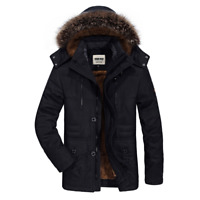 Men's Warm Down Cotton Jacket Fur Collar Thick Winter Hooded Coat Parka Outwear