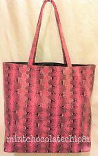 SAK'S FIFTH AVENUE PINK FAUX SNAKESKIN Leather Shopping Shoulder Tote bag NEW