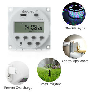 Digital Electronic LCD Time Relay Programmable Timer Switch ON/OFF DC 12V 16A