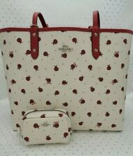 🐞Coach ☆ LADYBUG REVERSIBLE TOTE BAG + COSMETIC CASE ~ Chalk Red Multi NWT $428
