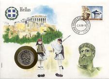superbe enveloppe GRECE GREECE pièce monnaie 10 DRACHME 1986 UNC NEW NEUVE