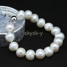 "Genuine Natural 9-10mm White Akoya Cultured Pearl Bracelet Bangle 7.5"" AAA"