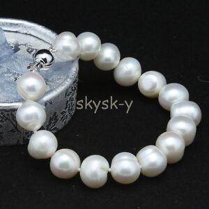 """Genuine Natural 9-10mm White Akoya Cultured Pearl Bracelet Bangle 7.5"""" AAA"""