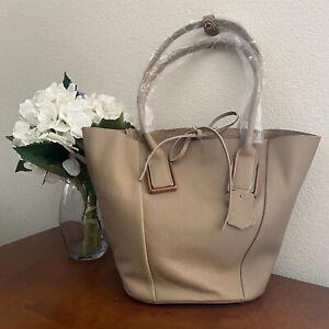 Women's Fashion Taupe Designer Genuine Leather BASKET Shoulder Handbag Tote Bag