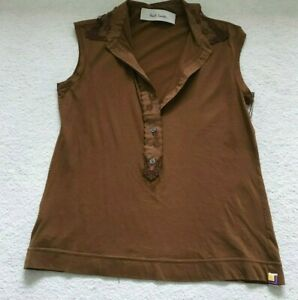 PAUL SMITH  Ladies top Brown with embroidered collar size 42