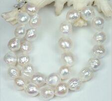"NATURAL 18""L 11-13MM south sea kasumi white pearl necklace 14K clasp"