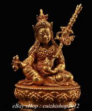 "4"" Old Tibet Copper Gild Buddhism Guru Padmasambhava Rinpoche Buddha Sculpture"