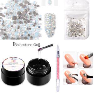 3Pcs/set Strong Nail Art Rhinestone Glue Gel Adhesive Resin Gem Polish Decor