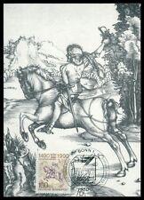 BRD MK 1990 500 JAHRE POST DÜRER POSTREITER PFERD HORSE MAXIMUM CARD MC h0418