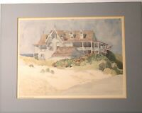 """Alice Steer Wilson Matted 18""""x14"""" Water Color Print Coastal """"House By The Sea"""""""