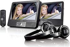 "Lenco MES-415 Auto-DVD-Player 9"" Doppel-Display USB/SD 2x Kopfhörer 2x Halterung"