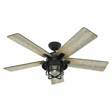 """Hunter 54"""" Rustic Weathered Zinc Outdoor Damp Led Light Remote Ceiling Fan"""