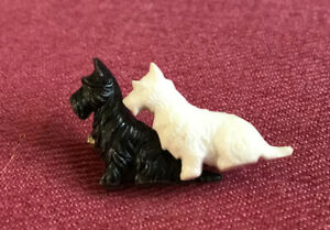 Black And White Scottish Terriers Badge Brooch. Made In England