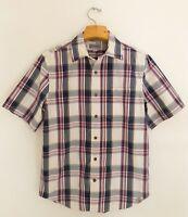CARHARTT Mens Shirt M Short Sleeve Button Front Pocket Plaid Red Blue Yellow EUC
