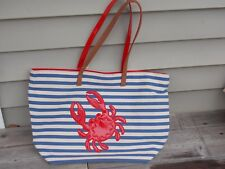 Large Canvas Crab Tote Brand New Blue Stripe Red Trim