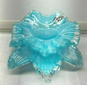 Blue Luster Iridescent Tea Light Candle Holder New Flower Art Glass HGT New NWT