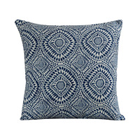 "Indigo Blue Batik Geometric Cushion. Double Sided. 17x17"". Handmade in UK."