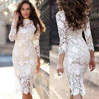 Womens Long Sleeve Lace Bodycon Pencil Dress Wedding Bridesmaid Cocktail Party