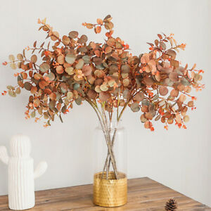 Autumn style Fake Leaf Artificial Plants Simulation Silk Eucalyptus Tree Branch