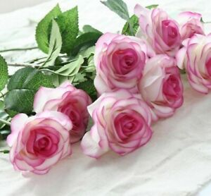 Roses Flower Bouquets Wedding Spring Latex Flowers Artificial Real Touch 6 Heads