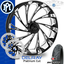 Performance Machine Delray Platinum Cut Wheel Front Package Harley Touring 21""