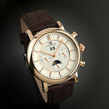 Vintage Automatic Mechanical Watch Brown Leather Strap Mens Wrist Rose Gold Date